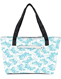 Pack Of 2 Blue Butterfly White Pattern Combo Tote Shopping Grocery Bag With Coin Pencil Purse
