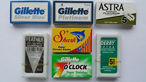 35 FEATHER 7 O'clock SHARK ASTRA SILVER BLUE DERBY Blade Sampler (Blade Sampler Pack compare prices)