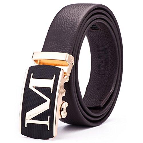 Mt.mit Men's Genuine Leather Ratchet Belt Fashion Design Automatic Alloy Buckle 115cm Length (MT15CB51048) (Cool Belt Buckels compare prices)
