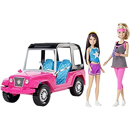 Barbie and Skipper with Jeep by Mattel