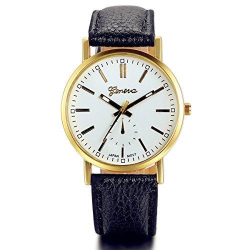 Lancardo Black Gold Color Pu Leather Belt Watch Classic Casual New Fashion Men