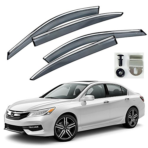 VXMOTOR Chrome Trim Smoke Tinted Clip On Window Visor Rain Guard Defector 2013-2017 Honda Accord Sedan 4 Door ONLY (2014 Accord Rain Guards compare prices)