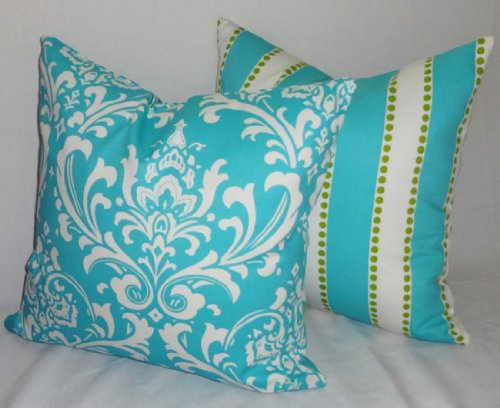 Turquoise Turquoise Blue White Lime Dot Stripe Pillow Covers