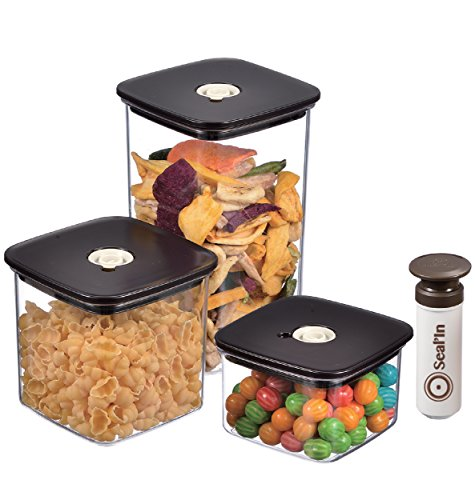 Seal'In Food Storage Vacuum Containers - Set of 3 - Vacuum Sealed, Microwavable and Dishwasher Safe (Vacuum Sealed Weed Container compare prices)