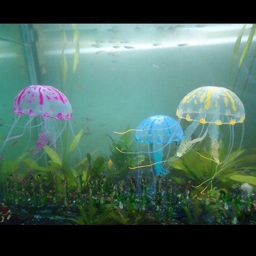 best-seller610-3pcs-silicone-glowing-effect-artificial-jellyfish-aquarium-ornament-blue-yellow-pink