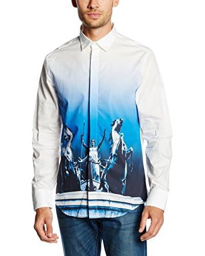 Dirk Bikkembergs Camisa Hombre Blanco / Azul