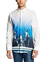 Dirk Bikkembergs Camisa Hombre (Blanco / Azul)