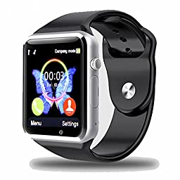 Padgene New GSM Bluetooth Smart Watch with Camera for Samsung S5 / Note 2 / 3 / 4, Nexus 6, Htc, Sony and Other Android Smartphones, Black