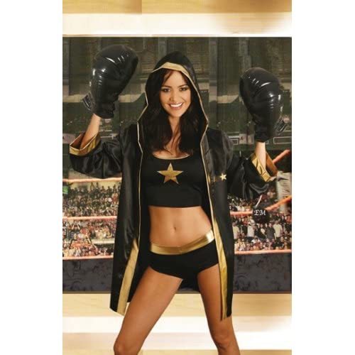Adult Halloween Costumes : Sexy Girls in Boxer - 4pc Costume - Cami Top, Booty Shorts, Hooded Robe, Boxing Gloves