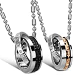 &quot;Eternal Love&quot; Stainless Steel Interlocking Double Rings Pendant Necklace Couples Jewelry Set (one pair)