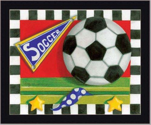 Soccer Ball Boy Sport Room Decor Sign Art Print Framed front-74661