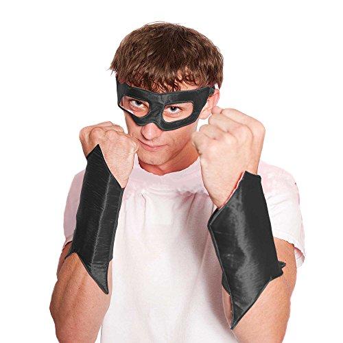 "Everfan Men's Superhero Eye Mask And Powerbands 6""LX4""W Black"