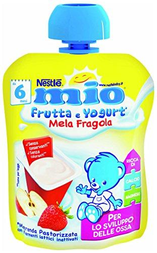 NESTLÉ MIO Merenda frutta e yogurt da spremere Mela e Fragola senza glutine da 6 mesi  90ml