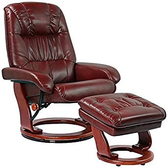Kyle Ruby Faux Leather Ottoman and Swiveling Recliner