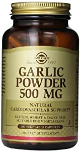 Solgar Garlic Powder Vegetable Capsules, 500 mg, 180 Count
