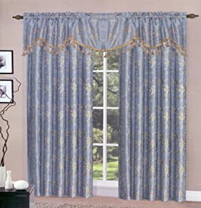 Blue Megan Complete Curtain Set; TWO piece embroidered curtains/panels/drapes with ONE valance with fringes. Each curtain 55 inches wide X 84 inches long; Valance 55 inches wide X 20 inches long