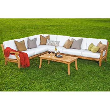 Giva Grade-A Teak Wood Luxurious 5pc Sectional Sofa Set Collection - 2 Sofas(Left & Right), 1 Lounge Armless Chair, 1 Corner Piece & 1 Coffee Table - Furniture Only #TSSSSGV