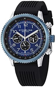 Stuhrling Original Men's 858R.01 Concorso Blue Stainless Steel Watch with Rubber Band