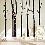 Yanqiao DIY Large Birch Tree Birds Wall Decal Forest Nursery Removable Vinyl Tree Wall Sticker for Living Room Wall Decor Murals(6 Trees) 90.6