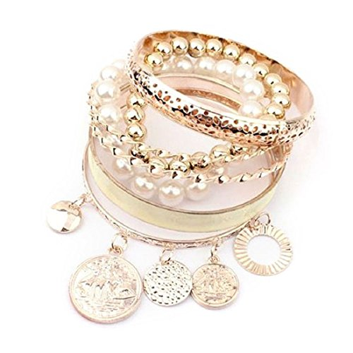 Doinshop New Useful Cute Nice Korean Style Girls Exquisite Coin Pearl Hollow Bracelet Jewelry (White)