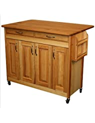 Catskill Craftsmen Butcher Block Island with Raised Panel Doors and Drop Leaf by Catskill