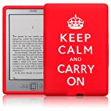 "Amazon Kindle eReader Wi-Fi 6"" E Ink Display Keep Calm & Carry On Lasered Silicone Case / Skin / Cover / Shell - Red/Whiteby TERRAPIN"