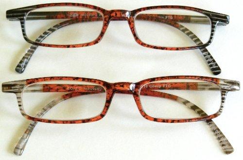 """(2 Pair + Bonus) Foster Grant +2.00 """"Gossip"""" Plastic Frame Reading Glasses -H20- + + Free Bonus Cleaning Cloth front-39096"""
