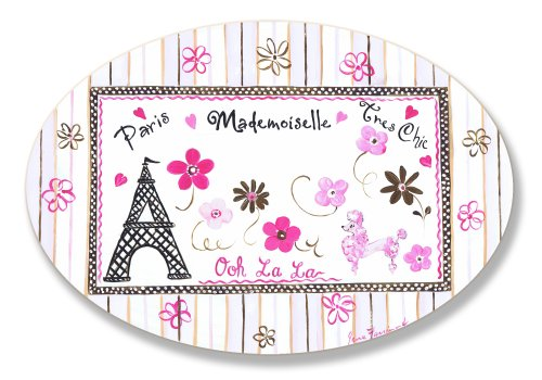 The Kids Room by Stupell Paris Madamoiselle Tres Chic with Eiffel Tower Oval Wall Plaque