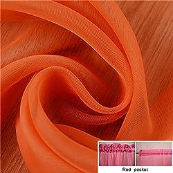 New Fashion Terylene Tulle Window Screening Blinds Sheer Voile Gauze Curtain for Cafe Kitchen Living Room Balcony Translucidus Decor Orange W200cm x H270cm Rod Pocket