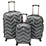 Dejuno Chevron Pattern 3-Piece Hardside Lightweight Spinner Luggage Set