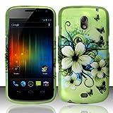 Samsung Galaxy Nexus Prime i515 Accessory - Green Hibiscus Hawaii Flower Design Protective Hard Case Cover for Sprint/Verizon/Telus