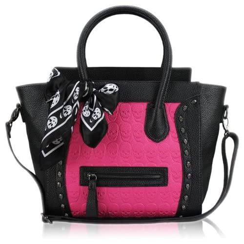 Miss Lulu Womens Ladies Designer Celebrity Leather Style Tote Satchel Smile Skull Scarf Shoulder Bag Handbag