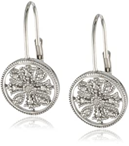 Sterling Silver Diamond Accent Floral Circle Leverback Earrings