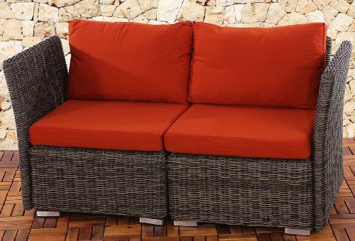 2er Sofa 2-Sitzer Siena Poly-Rattan, Gastronomie-Qualität ~ naturgrau mit Kissen in bordeaux