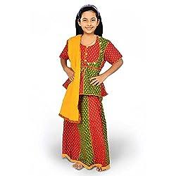 Indiangiftemporium Rajasthani Red Green Booti Work Lehenga Kurti Set 103A-24