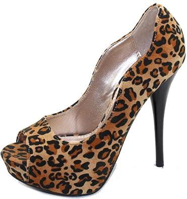 Women's Qupid Neutral-35 Leopard Camel Peep Toe Platform Shoes, Leopard Camel, 7.5