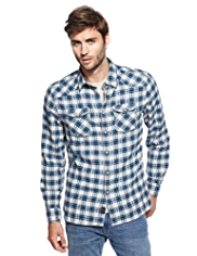 North Coast Pure Cotton Textured Checked Shirt
