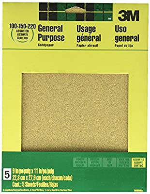 3M 9005NA 9-Inch by 11-Inch Aluminum Oxide Sandpaper, Assorted, 4-PACK