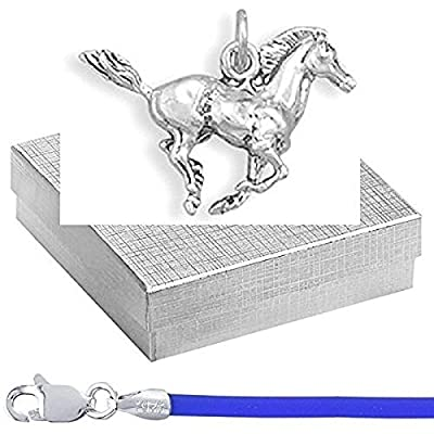 """Sterling 3D Mustang Charm with 16"""" Blue Cord Animal Jewelry Set in Silver Gift Box"""