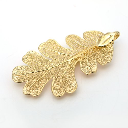 Gold Lacey Oak Leaf 24k Brooch