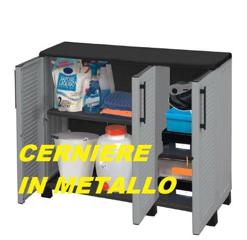 Armadio in resina per esterni cerniere in metallo cm 105x37x90 - Cerniere per mobili da cucina ...
