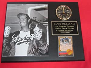 Sandy Koufax 4 NO HITTERS Collectors Clock Plaque w 8x10 RARE Photo and Card by J & C Baseball Clubhouse