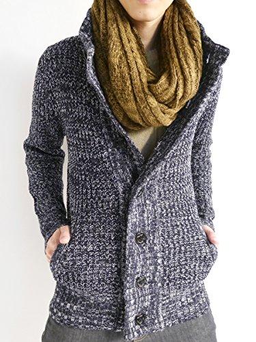 (モノマート) MONO-MART あぜ編み ニット カーディガン スタンドネック ボリュームネック 起毛 セーター カジュアル 暖かい 防寒 メンズ ネイビーミックス Mサイズ