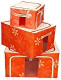 Super Combo!! BlushBees Set of 3 Saree/Lehenga/Woolens Storage Organiser with Steel Frames. (Orange)