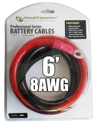 Power Bright 8-AWG6 8 AWG Gauge 6-Foot Professional Series Inverter Cables 800-1000 watt