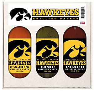 Iowa Hawkeyes Ncaa Grilling Gift Set 12oz Cajun 12oz Lime 12oz Peach from Hot Sauce Harrys