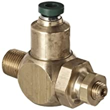 "Parker 032511215 3251 Series Brass Right Angle Flow Control Valve with Prestolok Fitting, 1/8"" NPT Male x 5/32"" NPT Female, 125 psi"