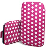 Excellent Accessories - Sony Ericsson Vivaz pro - Pink & White Multi Polka Dot Design Pull Tab Protective Pouch Case Cover With Pull Tab Function