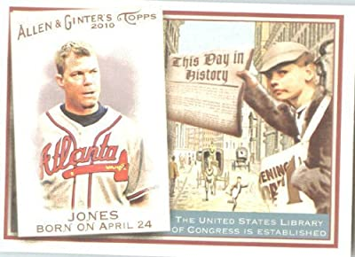 2010 Topps Allen and Ginter This Day In History Baseball Card # TDH5 Chipper Jones - Atlanta Braves - MLB Trading Card
