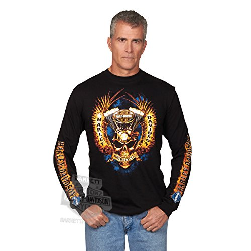 Harley-Davidson Mens Skull Throttle with Wings Black Long Sleeve T-Shirt - XL